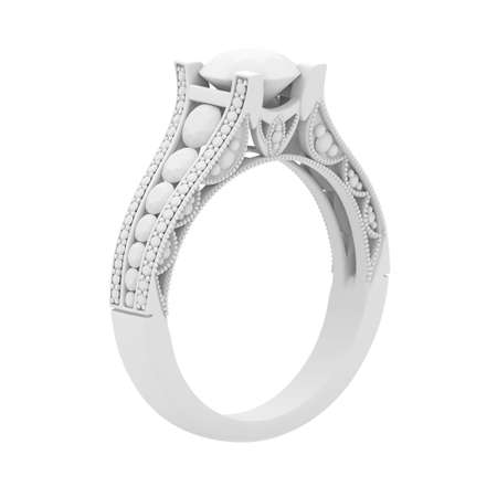 White gypsum cast material jewelry ring of 3d rendering isolate on white Stok Fotoğraf
