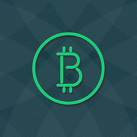 Bitcoin logotype cryptocurrency green color bricks wall.