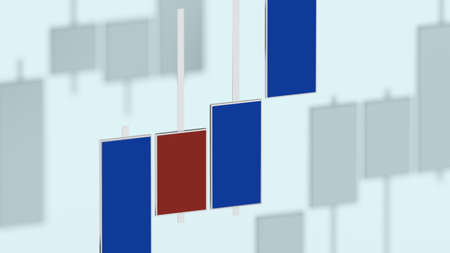 Market chart with color bars 3D rendering on dof background