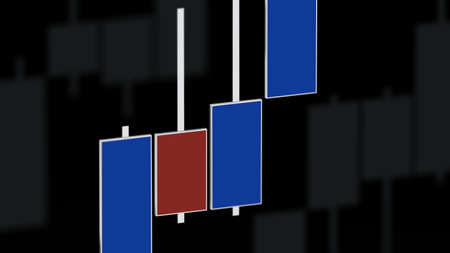 Market chart with color bars 3D rendering on dof black background