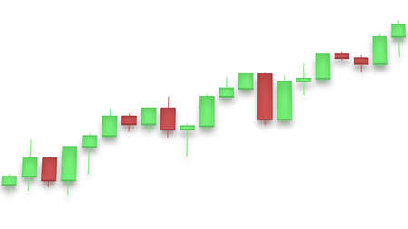 Market chart with color bars 3D rendering on white background