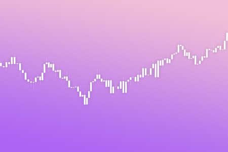 Market chart with bars 3D illustration on fluent color background