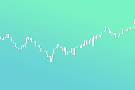 Market chart with growth bars 3D illustration on fluent green color background