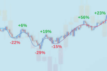 Market chart with growth bars, trend lines and percent 3D illustration Stok Fotoğraf