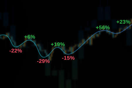 Market chart with growth bars, trend lines and percent 3D illustration on black background