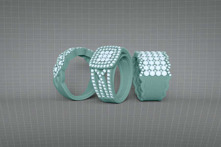 Jewelry rings with diamonds 3D rendering in wireframe mesh grid