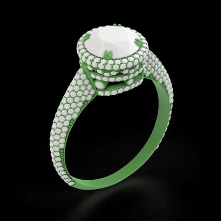 Wax 3d cad jewelry model of engagement ring.