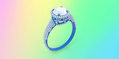 Wax 3D CAD jewelry engagement ring with color