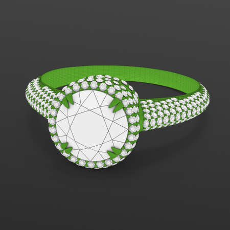 Wireframe material 3d jewelry model of engagement ring.