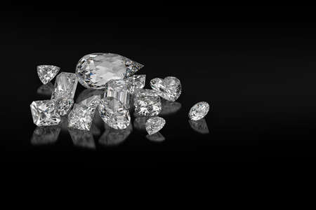 Diamond different cuts on black background 3d rendering