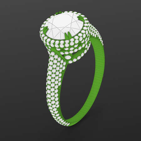 Wireframe green material of jewelry production CAD model of engagement ring. 3D rendering Stok Fotoğraf