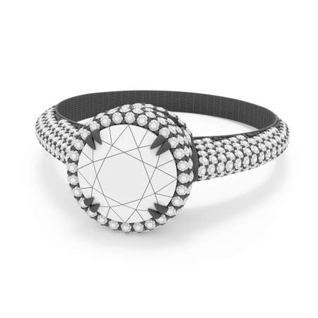 Jewelry ring with round diamonds 3D rendering in gray wireframe material.