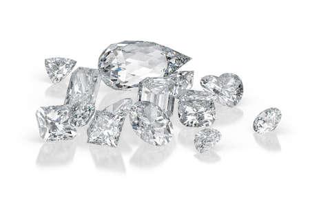 Diamantes de diferentes cortes sobre fondo blanco con reflejos. Representación 3d Foto de archivo