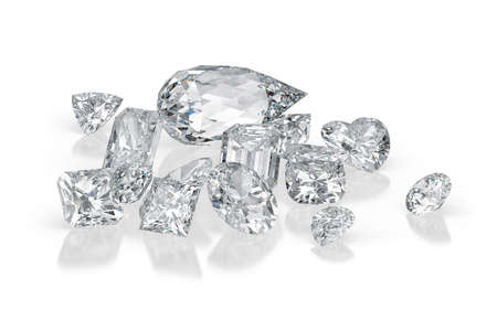 Diamonds different cuts on white background with reflections. 3d rendering Standard-Bild