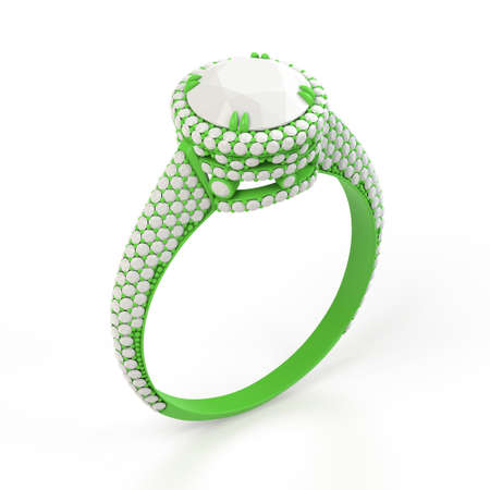Wireframe green material of jewelry production 3d model of engagement ring. 3D rendering