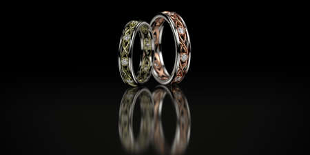 Jewelry wedding band gold rings with diamonds on black background. 3D rendering Stok Fotoğraf