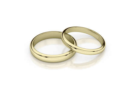 Jewelry wedding band yellow gold rings on glossy white background. 3d rendering Stok Fotoğraf