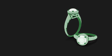 Wireframe green material 3d jewelry models of engagement rings on black background with free space. 3d rendering Stok Fotoğraf