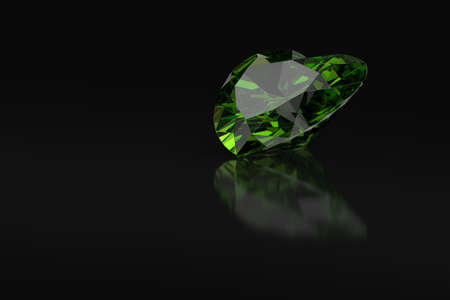 Heart cut emerald gemstone on black background with reflections and free space. 3D rendering