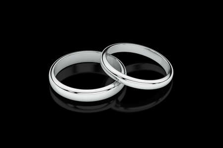 Jewelry wedding band white gold rings on glossy black background. 3D rendering
