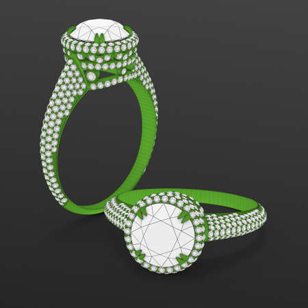 Wireframe green material of jewelry production CAD model engagement rings. 3D rendering Stok Fotoğraf