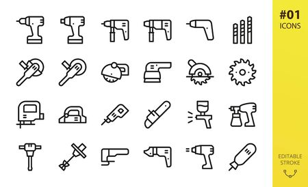 Power tools icon set. Set of drill, cordless screwdriver, circular saw, electric planer, power drill, impact wrench driver, electric airbrush spray gun, angle grinder outline icons Illusztráció