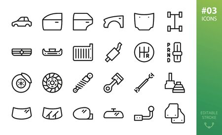 Car parts icon set. Set of car body, car door, fender, hood, grille, brake disk, piston, mats, windshield, wipers, side-mirror, cv-joint, shock-absorber, drive-shaft vector outline icons