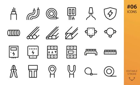 Electricity icons set. Set of electrical wire, hank of cable, pvc tubes, cable channel, junction box, electric box, electricity meter, terminal block connectors, wiring tools isolated vector icons