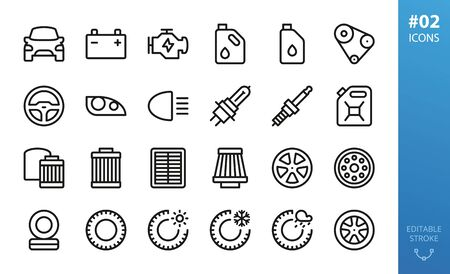 Car parts icon set. Set of engine, motor oil, oil can, air filters, oil filters, winter tires, allow wheels, summer tires, car light, headlight, head lamp, spark plug, steering wheel isolated icons Illustration