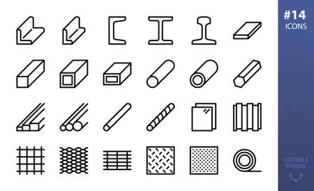 Hot rolled steel outline icon set. Set of metal products, steel angle, channel, rail, i beam, flat metal bar, steel tube, pipe, expanded metal, perforated sheet, bar grating, rebar, wire mesh icons 向量圖像