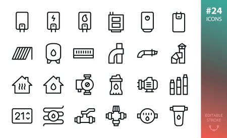 Home heating and water supply system icon set. Set of gas boiler, electric heater, solid fuel boiler, solar collector, expansion water tank, coaxial chimney pipes, submersible water pump, valve icons Stock Illustratie