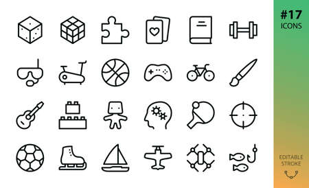 Sport, hobby, games isolated icon set. Set of board game dice, puzzle piece, gym, fitness, diving mask, controller pad, bike, guitar instrument, drone, model kit, table tennis outline vector icons