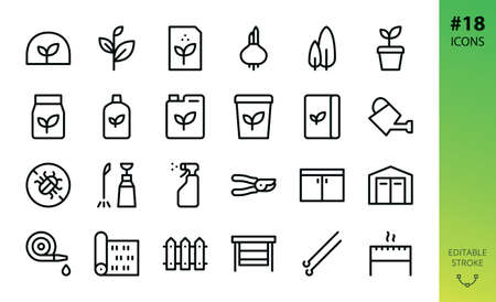 Gardening, garden buildings and tools icon set. Set of greenhouse, plant seeds, grass roll, fertilizer, store shed, thuja, watering can editable stoke vector icons. Illustration