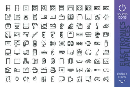 Appliances and electronics isolated icon set. Set of refrigerator, washing machine, cooker, gas stove, kettle, slow cooker, vacuum cleaner, kitchen processor, fitness bracelet, smart watch, tv icons