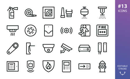 Security and Fire Alarm icon set. Set of smoke detector, fire sensor, sprinkler, powder extinguishing module, fire alarm control panel, firehose, fire extinguisher, cctv camera, vector outline icons