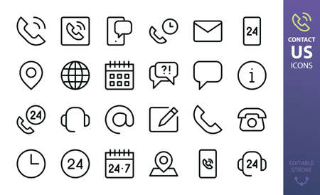 Contact us isolated icon set. Set of contact calling phone, helpdesk support, mobile phone chat, at sign, 24 hours working time, retro telephone, mail outline vector icon for website interface icons