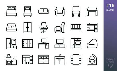 Furniture outline icon set. Set of home furniture, loft table, double bed, bedding mattress, bean bag chair, tv stand, hallway furniture, wardrobe closet, rattan swing chair isolated vector icons Stock Illustratie