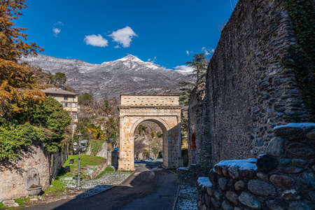 Susa, Italy. Februar 14th, 2021. Arch of Augustus and other remains from Roman Era.