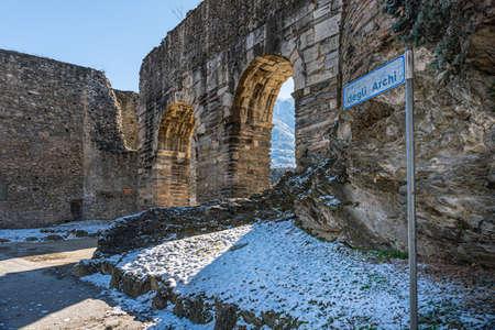 Susa, Italy. Februar 14th, 2021. Remains from Roman Era along the Via degli Archi.