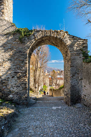 Susa, Italy. Februar 14th, 2021. Remains from Roman Era along the Via degli Archi. Banque d'images
