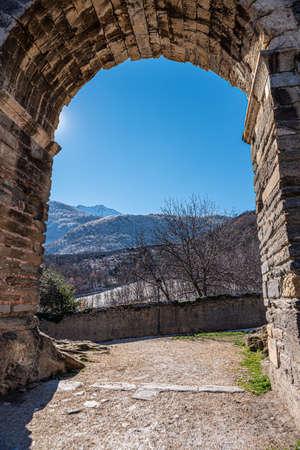 Susa, Italy. Februar 14th, 2021. Susa, Italy. Februar 14th, 2021. Remains from Roman Era along the Via degli Archi.