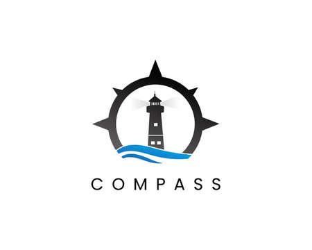 Compass and lighthouse logo design template vector Logo