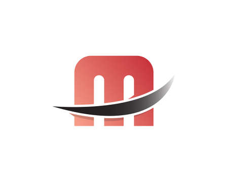 M letter Cute style and modern concept with arrow