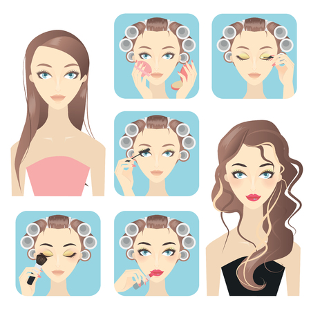 Beauty Makeup - Cosmetic Application Vettoriali