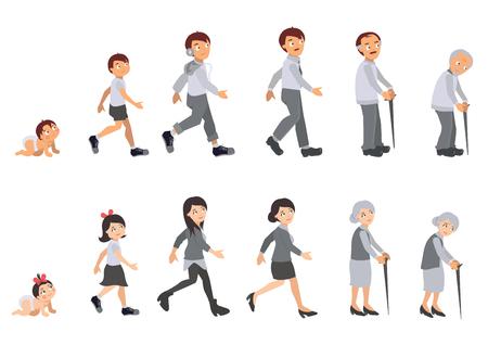 older woman smiling: Human Life Cycle Illustration