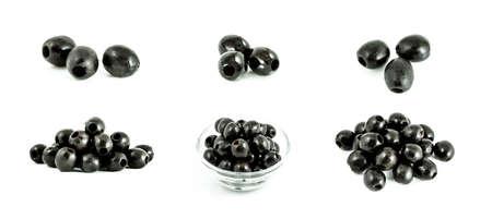 Black olives set isolated on the white background