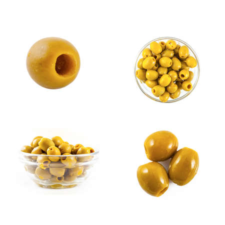 Green olives isolated on the white background