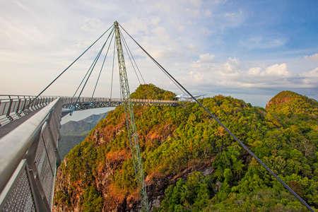 Famous Sky Bridge, one of the symbols of Malaysia, on Langkawi island