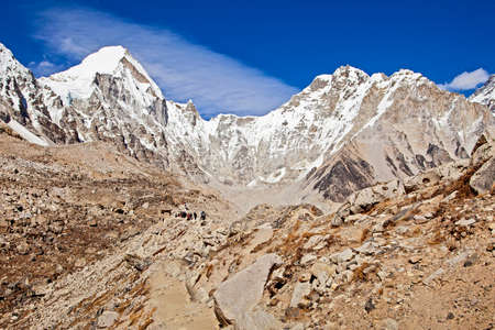 Mountains on the way to Everest Base Camp, Nepal Stock Photo