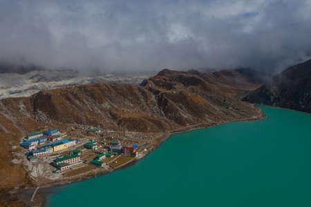 Landscape with Gokyo lake with amazing blue water, Nepal Stock Photo
